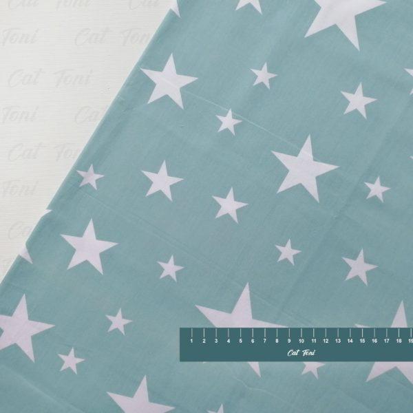 Белые звезды на мятном красивая хлопковая ткань